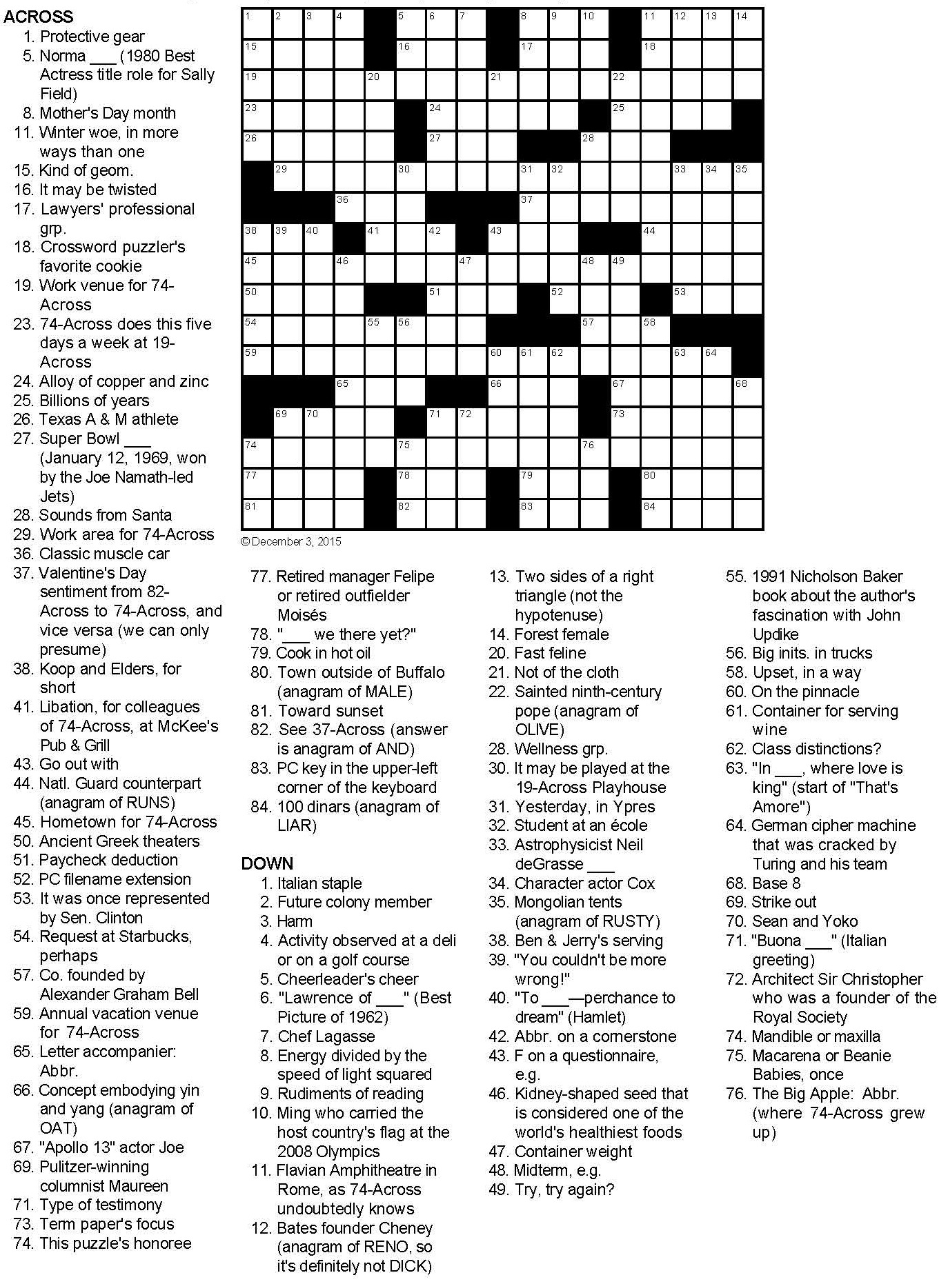 Not your garden variety birthday present crossword puzzle for Century plant crossword clue