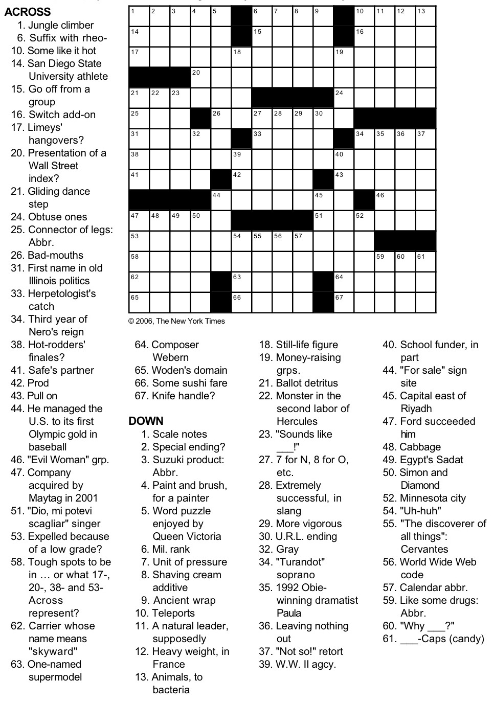 Wild image regarding printable ny times crossword puzzles